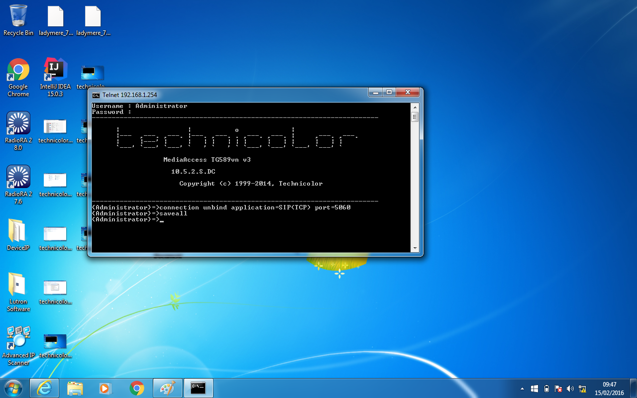 technicolor windows telnet