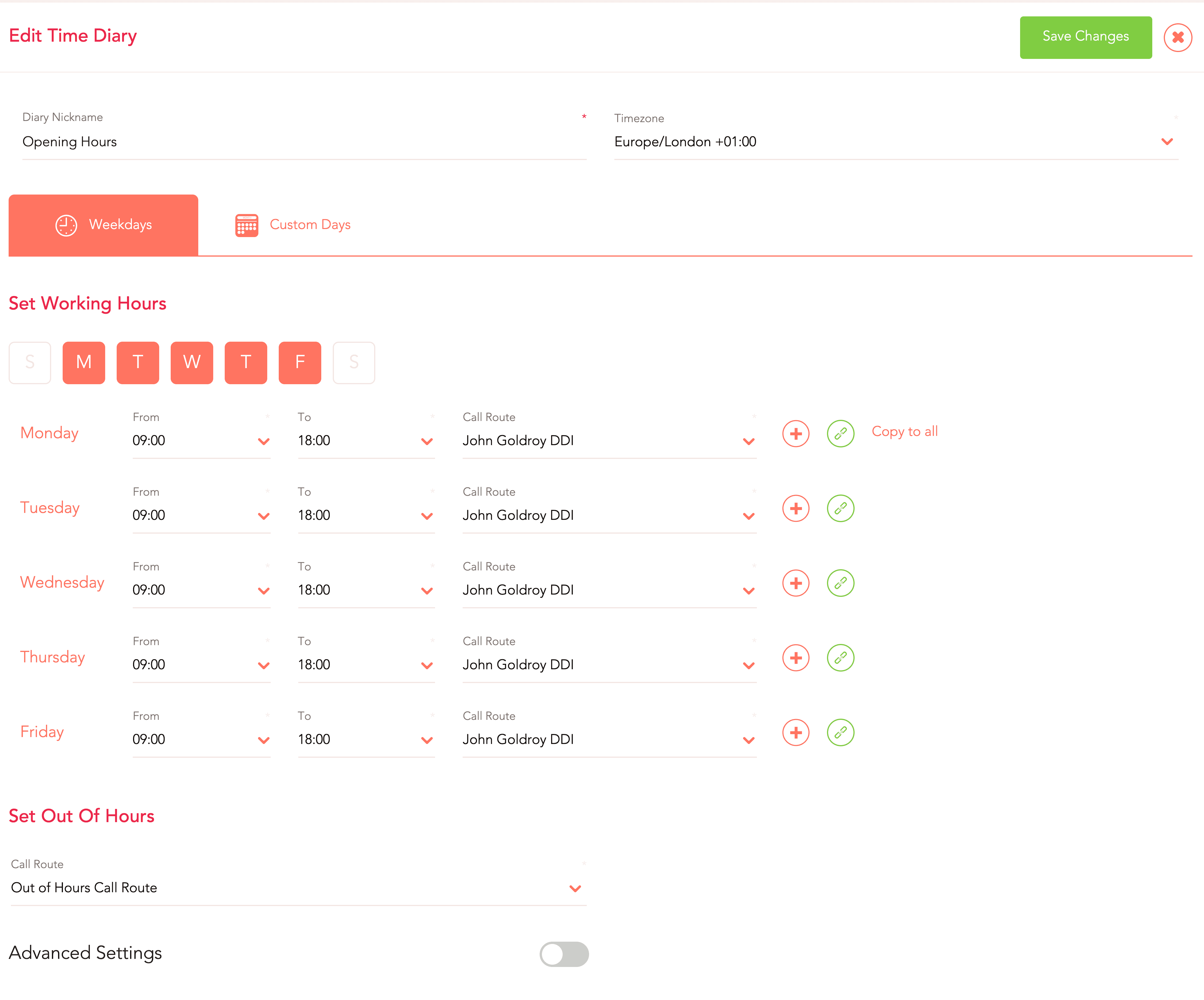 out of hours time diary automation