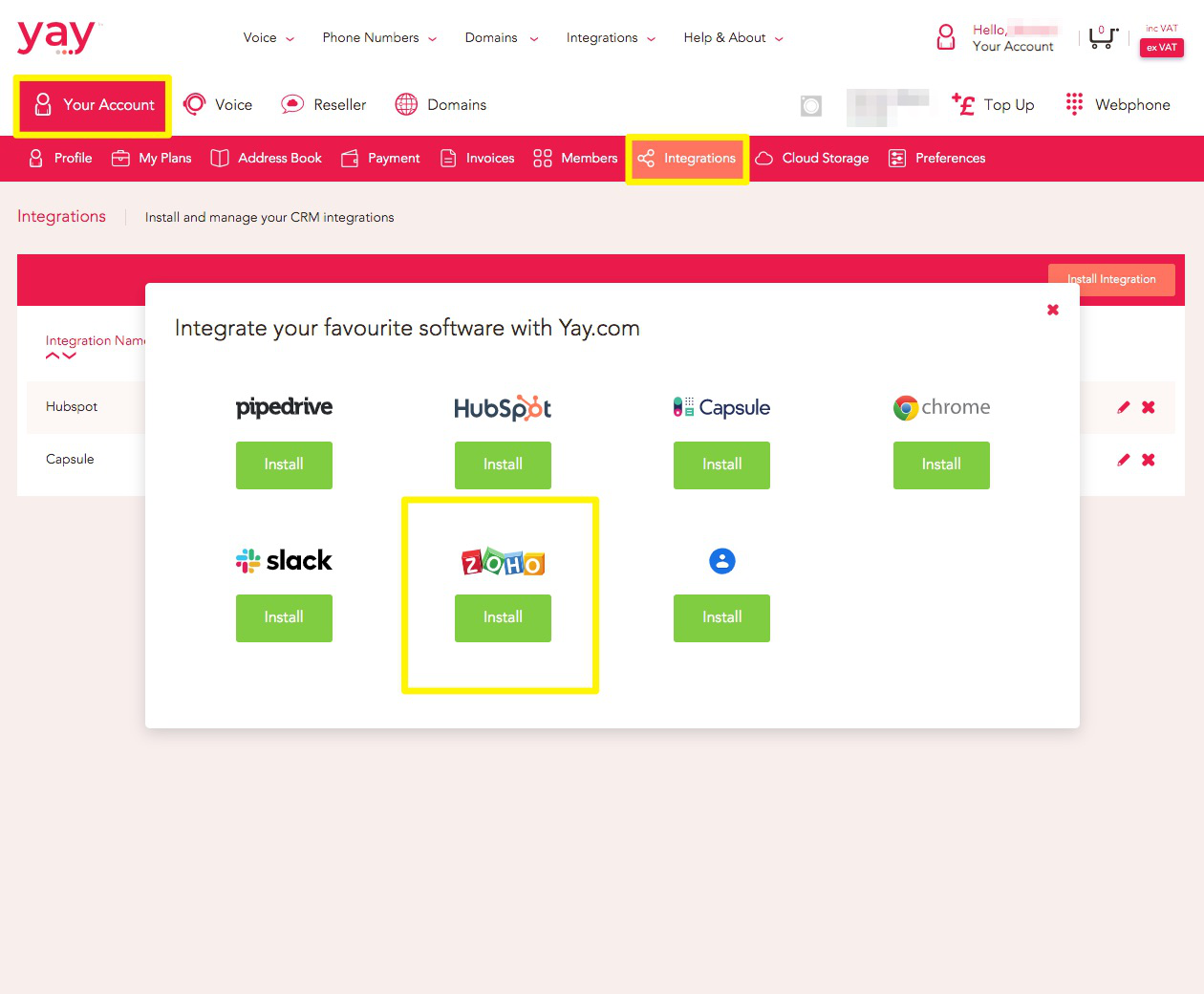 Navigating to integration in Yay.com dashboard