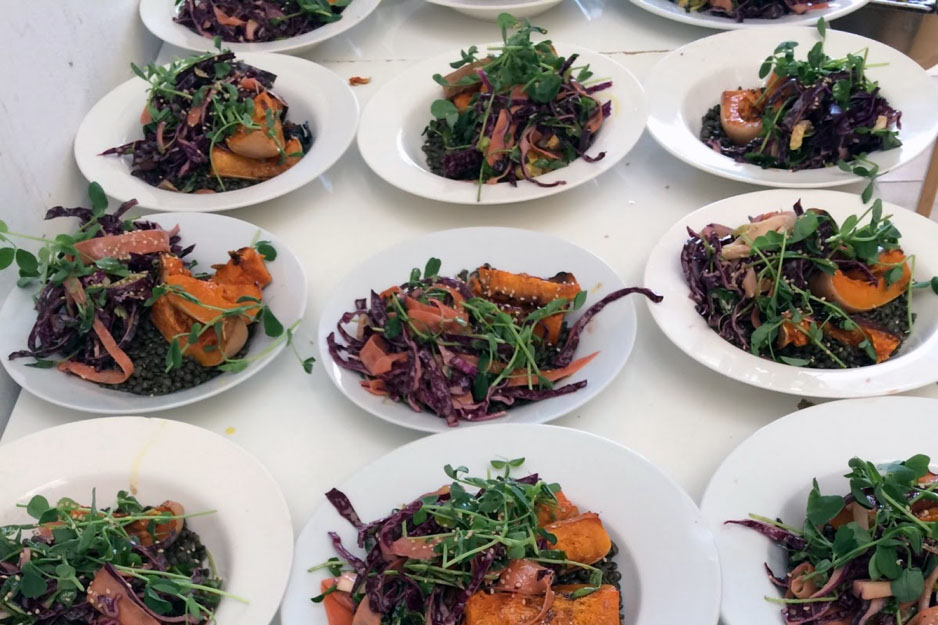 Dark speckled lentils with roasted squash + a fennel, carrot and red cabbage salad with pomegranate molasses dressing