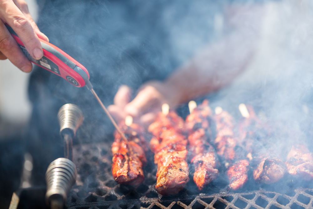 barbecue meat thermometer kebab smoke fire