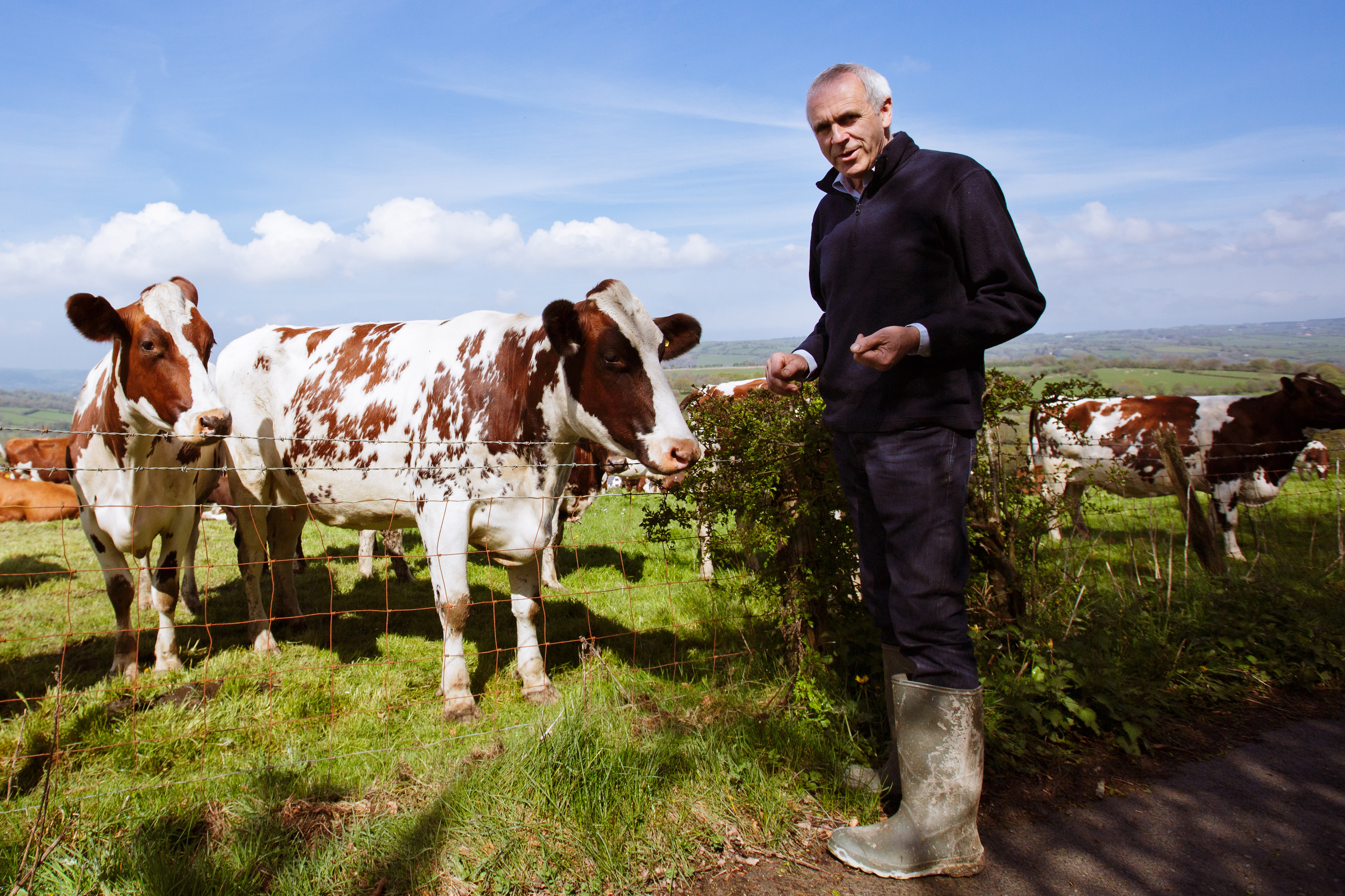 Patrick Holden living out a sustainable diet on his dairy farm in Wales.