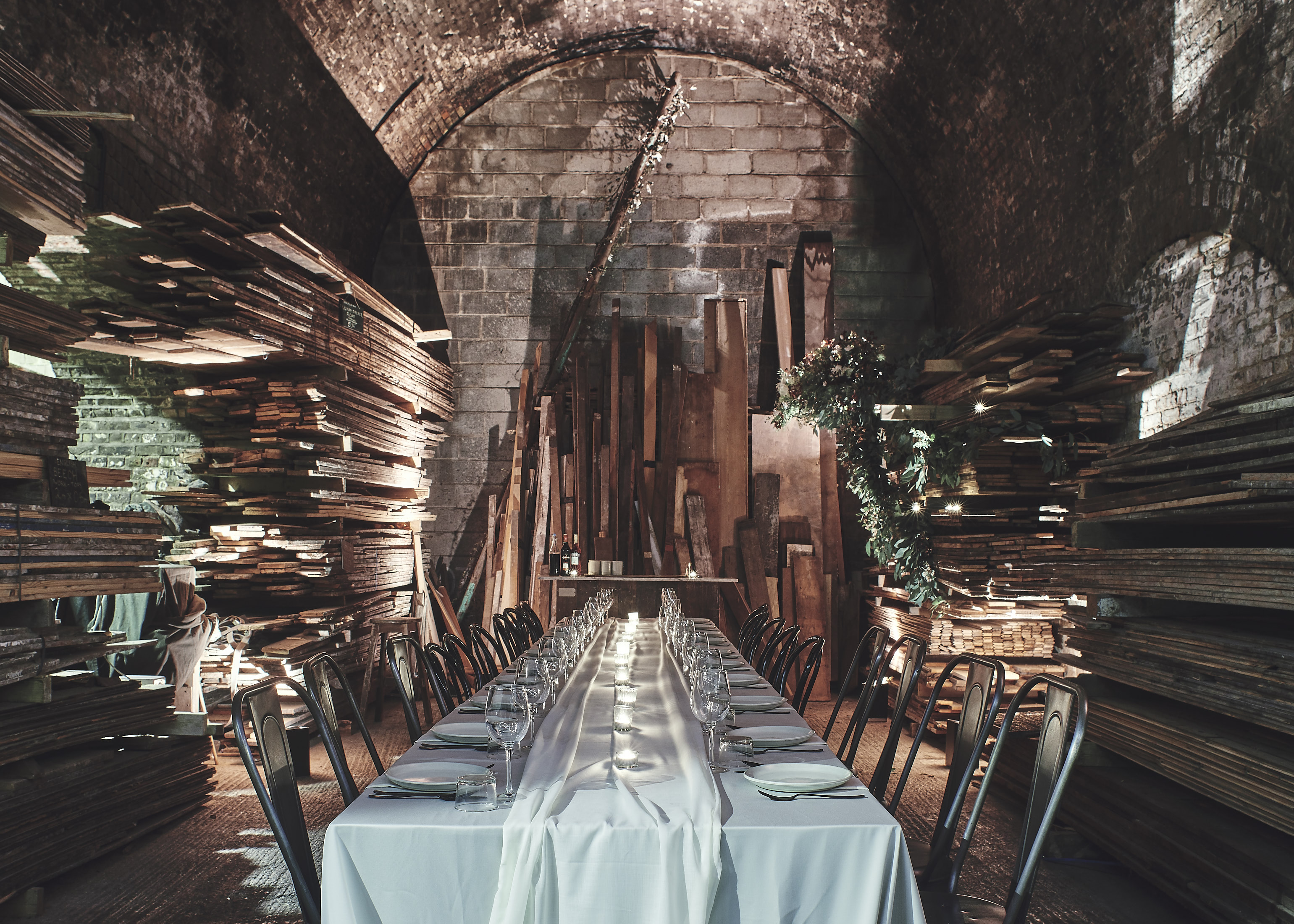 The Maltby Arch where guests will be seated for the supper club. (Credit LASSCO Ropewalk & Styling: Lucy Franks)
