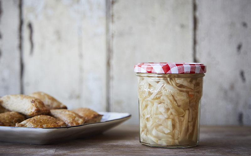 Baked Spelt Pierogi with Sauerkraut and Wild Mushrooms. Recipes for a merry meat-free Christmas, Polish style. Photo: Nat Towell