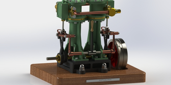 Vertical twin steam engine with reverse gear by Nick Brookhuis