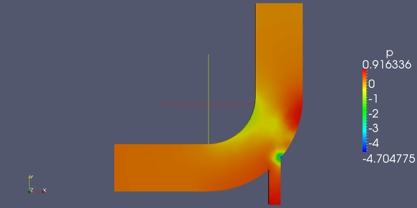 Flow simulation in an elbow