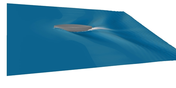 Flow simulation round a ship hull