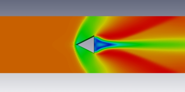 Supersonic flow around a prism