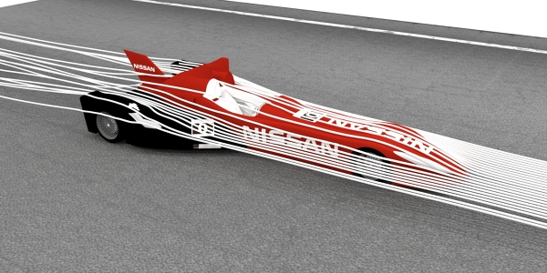 Nissan DeltaWing CFD Simulation Rendering