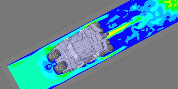 Flow Simulation of Tumbler Batmobile with ANSYS Discovery Live