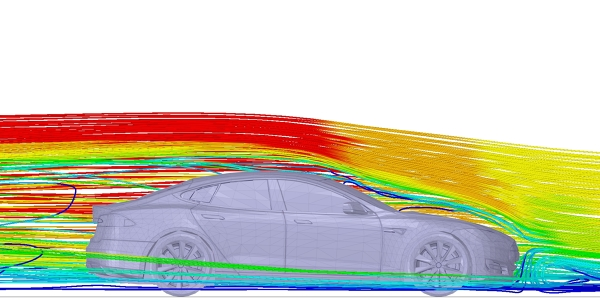 Tesla Model S External Flow Simulation