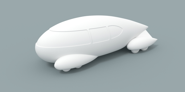 3D Model of teardrop-shaped automobile design by Bel Geddes
