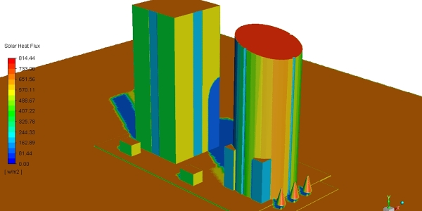 CFD Simulation: Natural convection and radiation heat effect on building