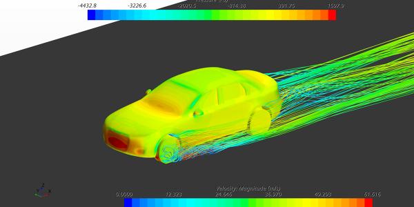 Audi A4 CFD study 180kmph