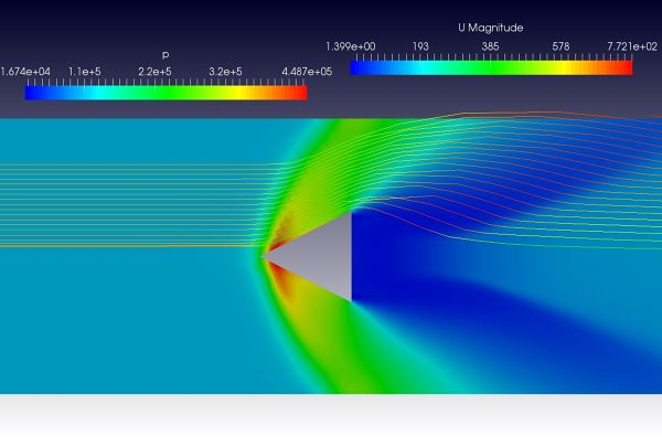supersonic-flow-around-prism-simulation-OpenFOAM-pressure-contour-velocity-streamlines.jpg