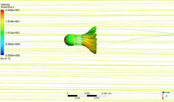 Shuttlecock-Simulation-ANSYS-Fluent-Pressure-Surface-Plane-Velocity-Streamlines.jpg