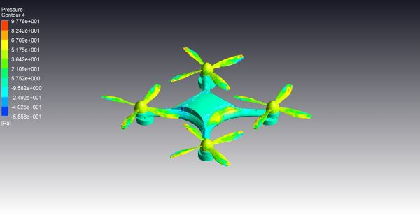 Drone_CFD_Simulation_ANSYS_CFX_Pressure_Contour_Surface_FetchCFD_Bottom_View.jpg