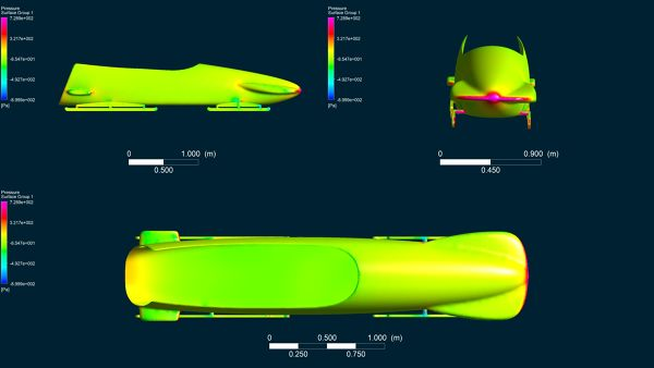 Bobsleigh CFD Simulation Surface Pressure Contour Different Views.jpg