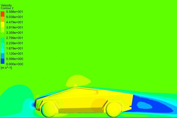 Tesla-Cybertruck-Aerodynamics-Analysis-Simulation-Velocity-Contour-Mid-Plane-FetchCFD-30mps.jpg