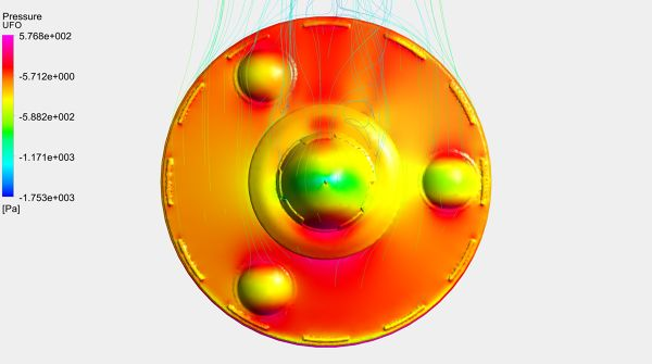 UFO-Aerodynamics-Analysis-Simulation-Surface-Pressure-Contour-And-Velocity-Streamlines-FetchCFD-Image-Top-View.jpg