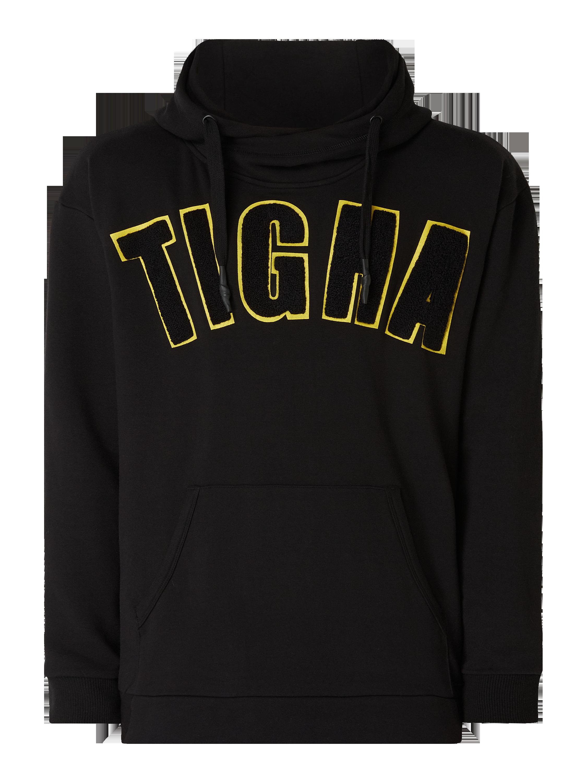 Tigha – Hoodie mit Logo Applikation – Schwarz