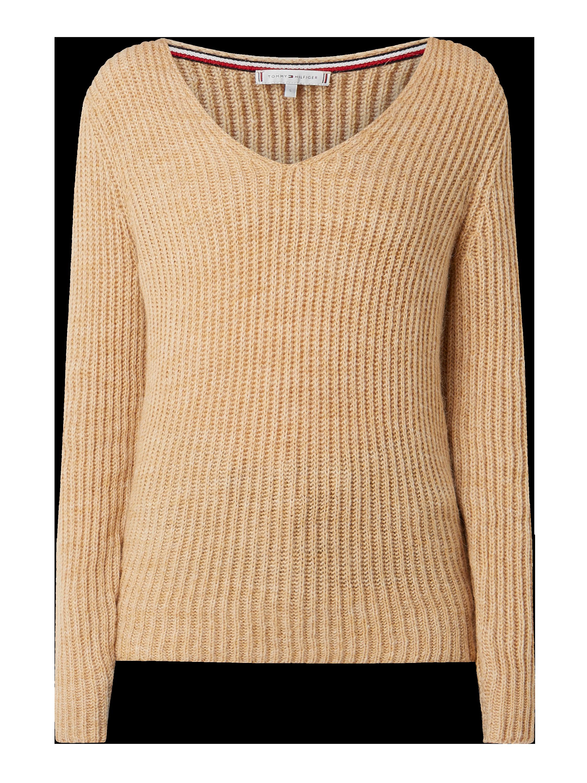 Tommy Hilfiger – Pullover mit Rippenstruktur und V Ausschnitt – Camel