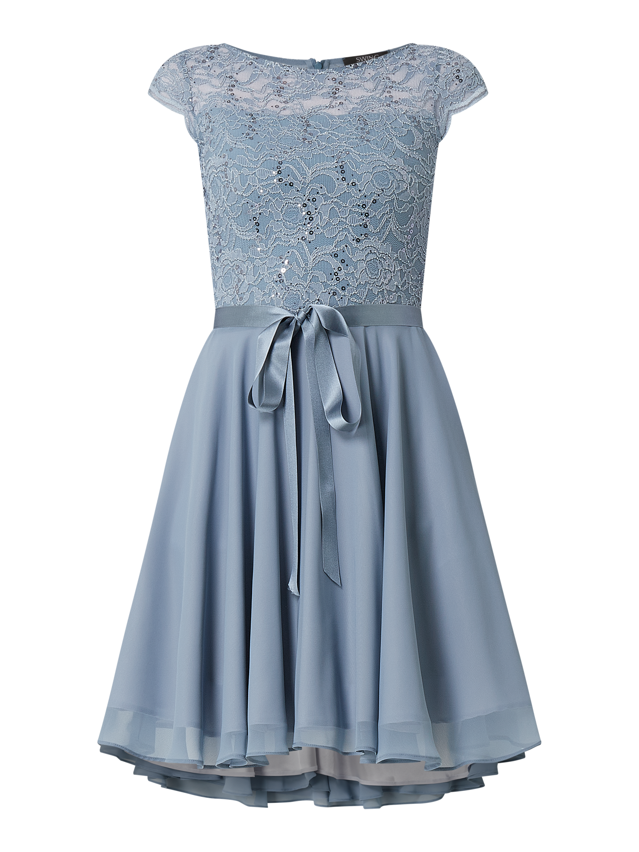 Swing – Cocktailkleid aus Spitze und Chiffon – Bleu