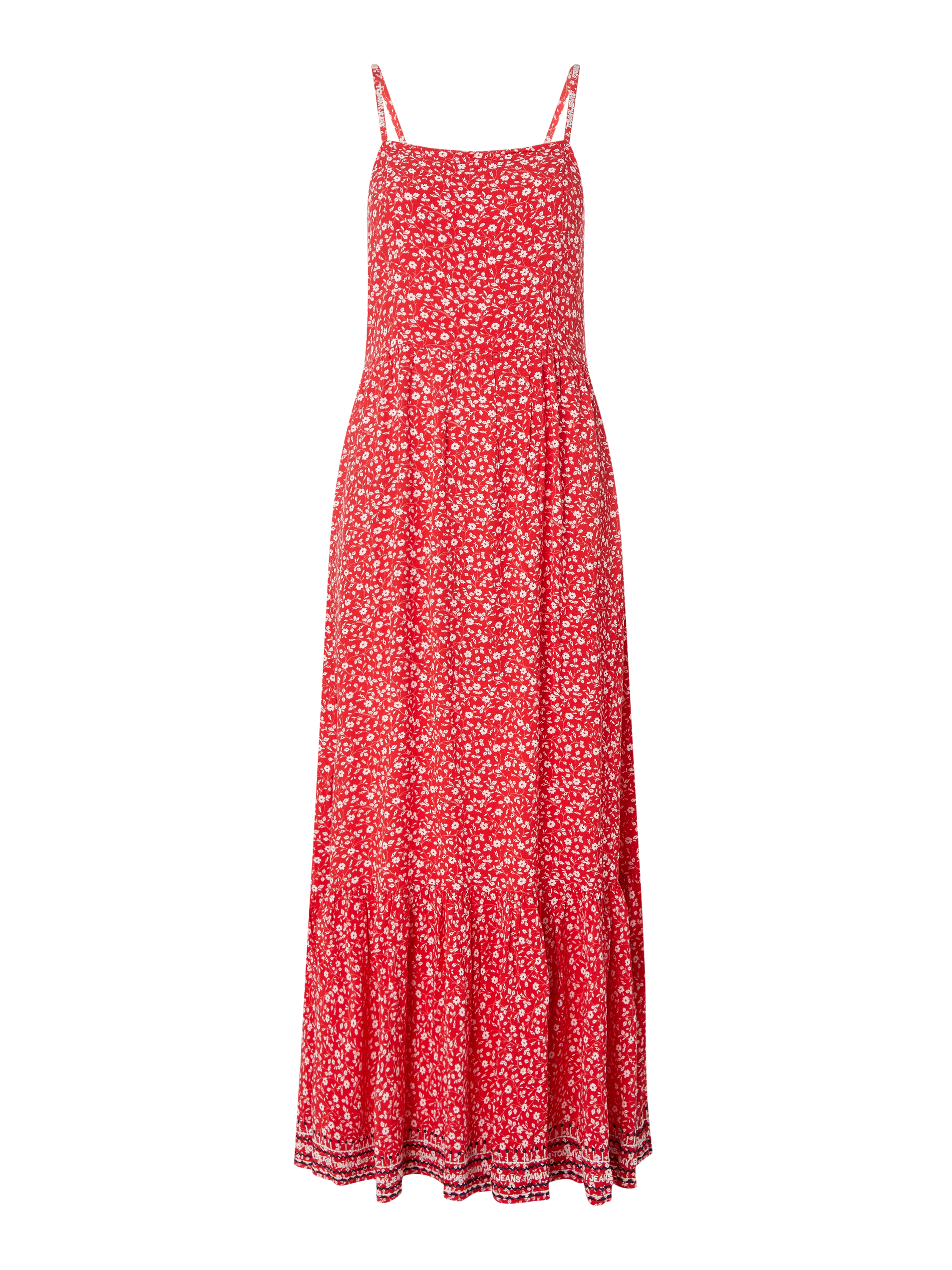 Tommy Jeans – Maxikleid mit Allover Muster – Rot