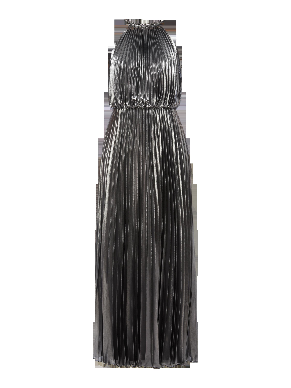 Schwarzes langes plisseekleid