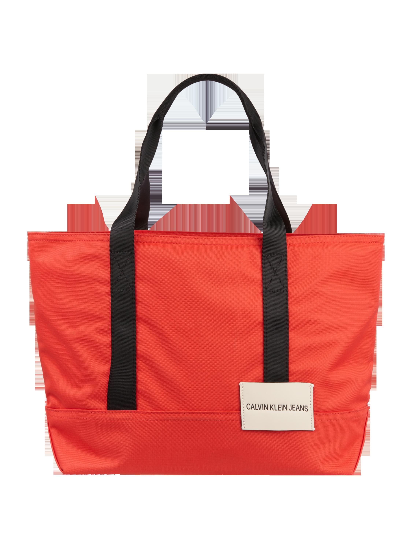 eaa347d07a1f3 CALVIN-KLEIN-JEANS Trapezowa torba shopper z materiału tekstylnego z  naszywką z logo w kolorze Czerwony zakupy online (9808462) w P&C ▷ wysyłka  i zwrot 0zł