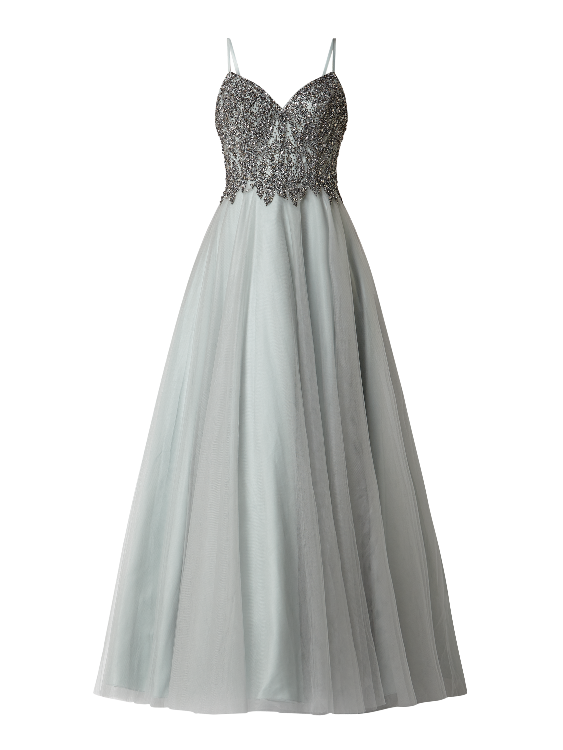 unique – abendkleid mit zierperlen – mint