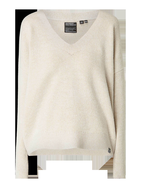 Superdry – Pullover mit überschnittenen Schultern – Offwhite
