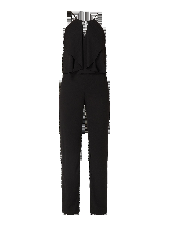 swing – jumpsuit aus chiffon – schwarz