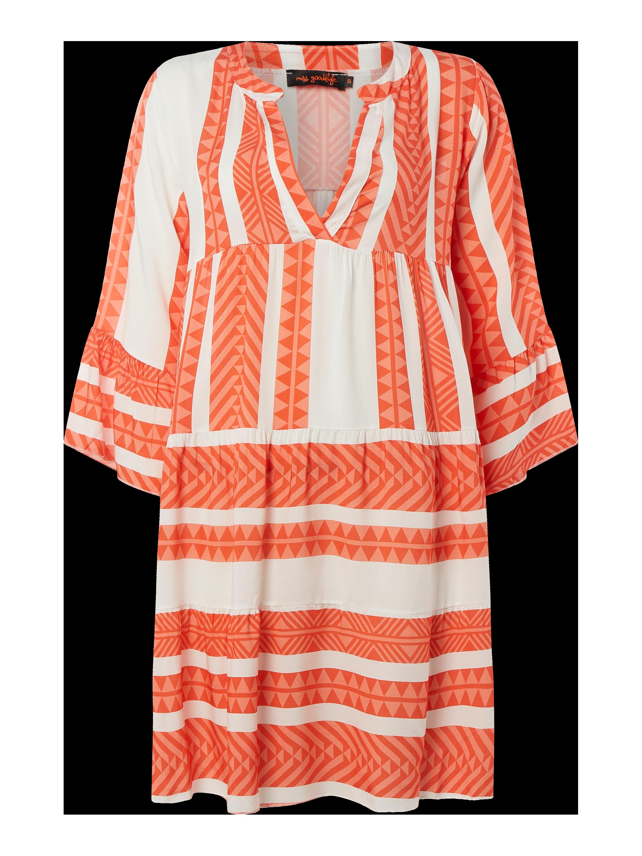 miss goodlife – kleid mit ethno-muster – orange