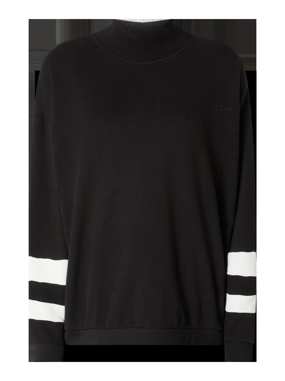 Superdry – Sweatshirt mit Stehkragen – Schwarz