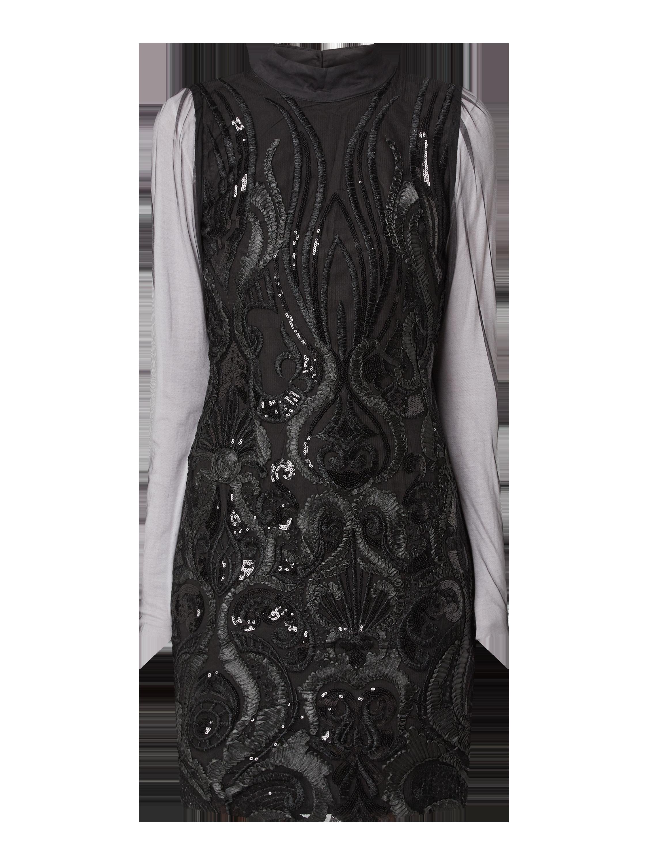 yas – kleid aus tüll mit ornamentalen stickereien – schwarz