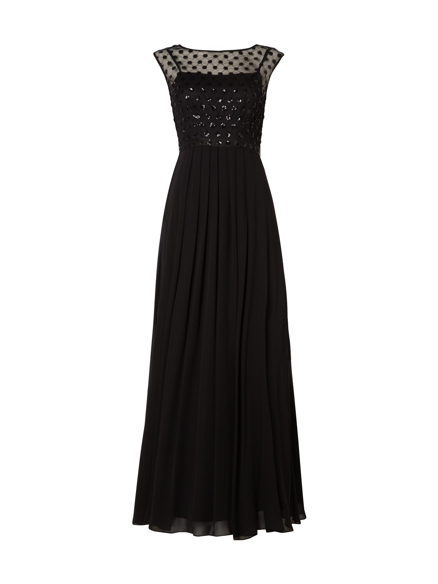 Coast – Abendkleid mit Oberteil aus Mesh und Pailletten – Schwarz
