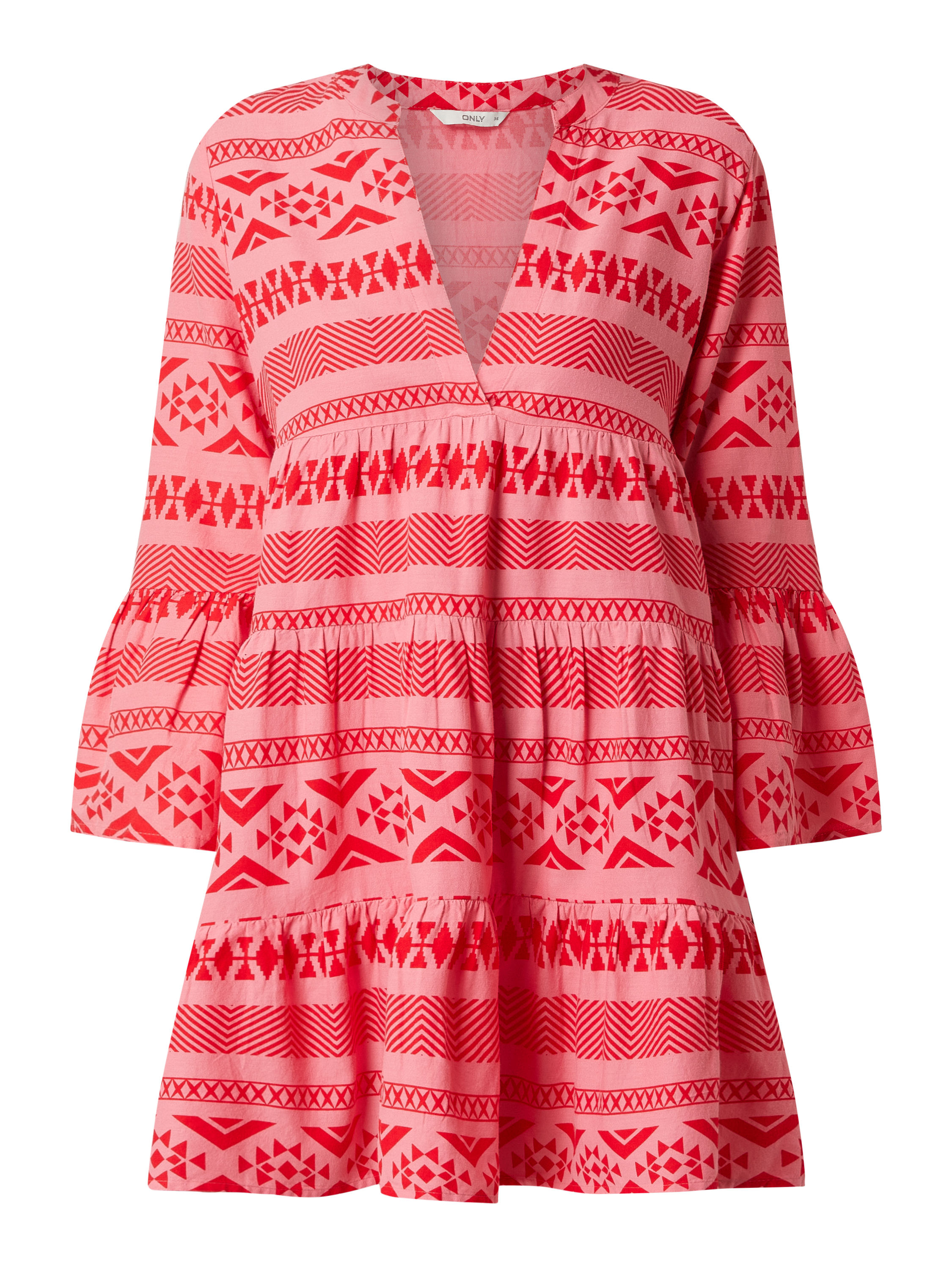Only – Kleid mit Ethno Muster Modell 'Lucca' – Pink