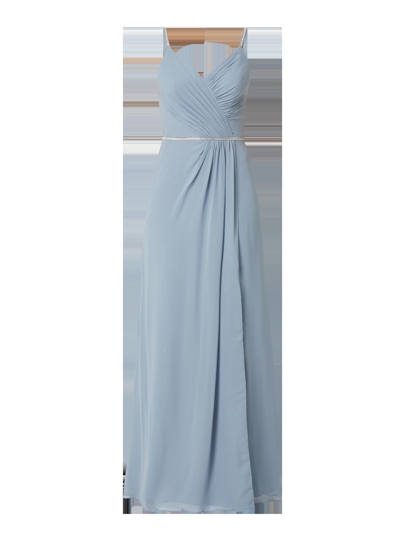 luxuar – abendkleid aus chiffon mit ziersteinbesatz – bleu