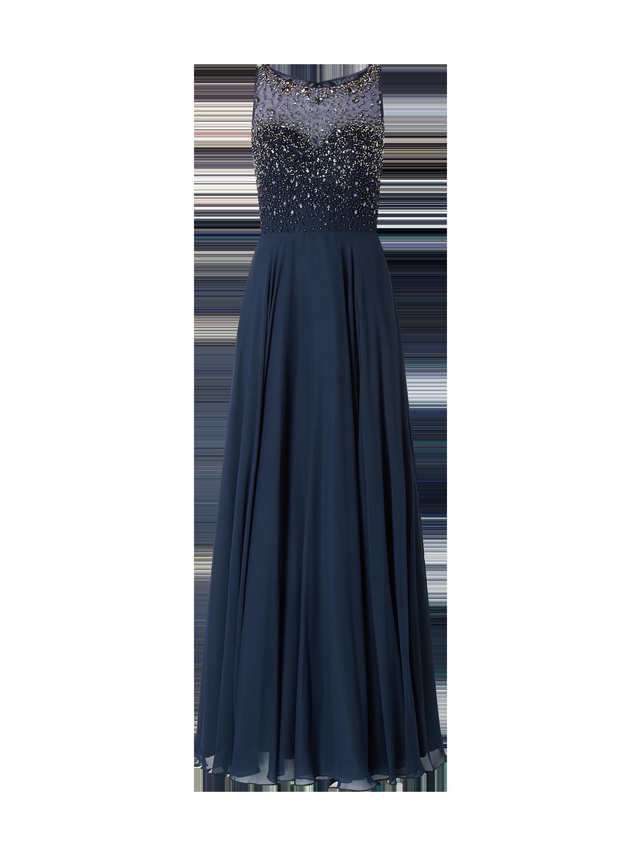 unique – abendkleid mit ziersteinen – dunkelblau