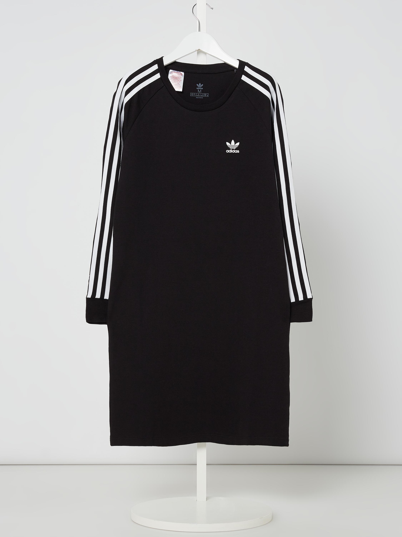 ADIDAS Originals – Sukienka z dżerseju z paskami z logo – Czarny