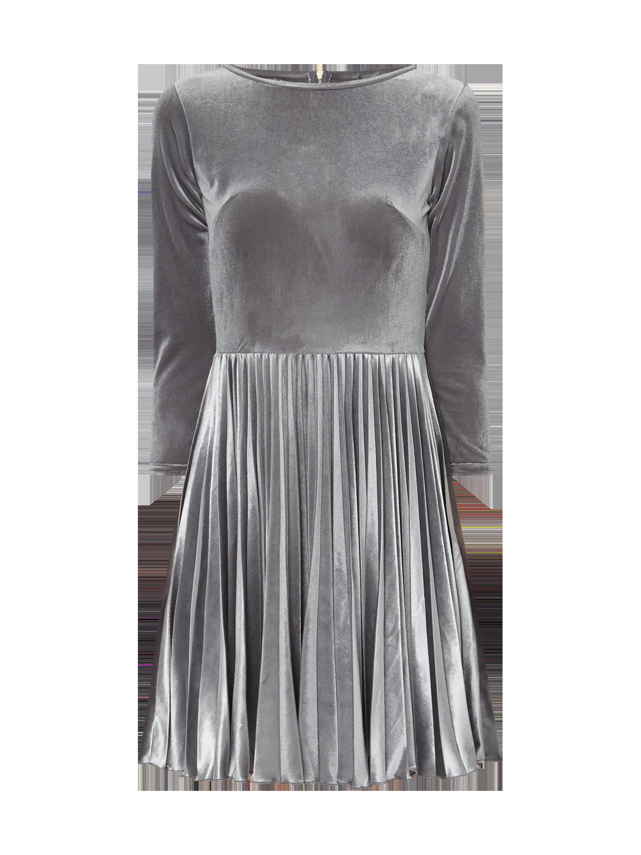 CLOSET-LONDON Kleid aus Samt mit Plisseefalten in Grau / Schwarz ...