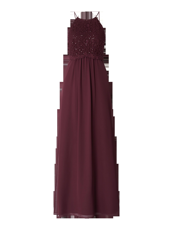 Jake*s Cocktail – Abendkleid mit Oberteil aus floraler Spitze – Aubergine