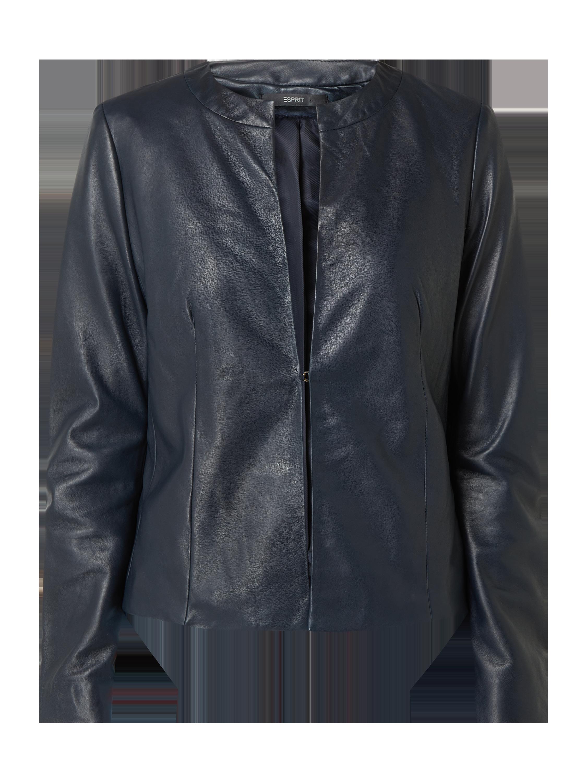 Esprit Collection – Lederjacke mit Hakenverschluss – Marineblau