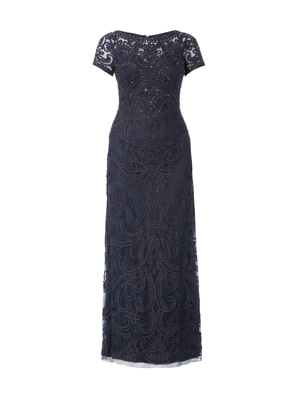 Niente Abendkleid aus Mesh mit Zierborten Blau / Türkis - 1 ...