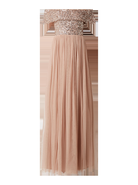 MAYA DELUXE – Abendkleid mit Pailletten – Taupe