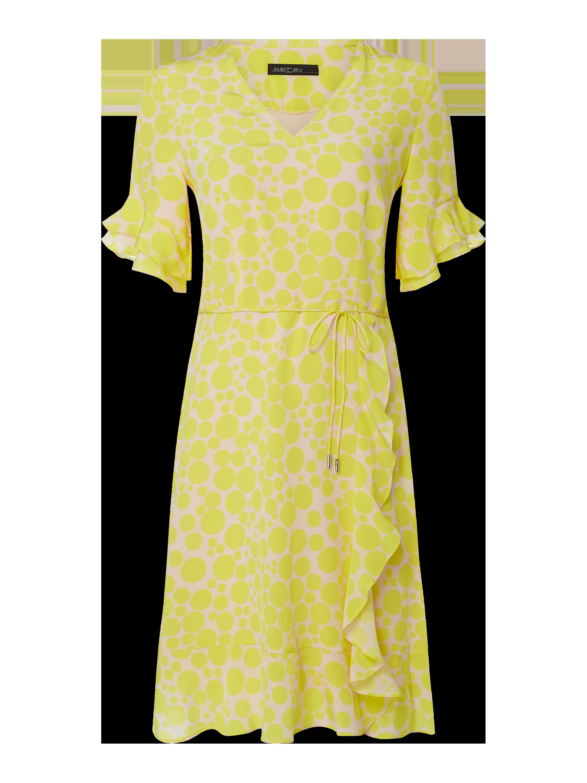 Marc Cain – Kleid aus Seide mit Kreismuster – Gelb