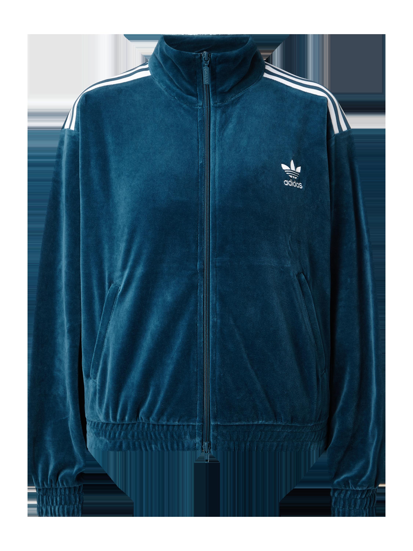 ADIDAS – Trainingsjacke aus Samt – Rauchblau