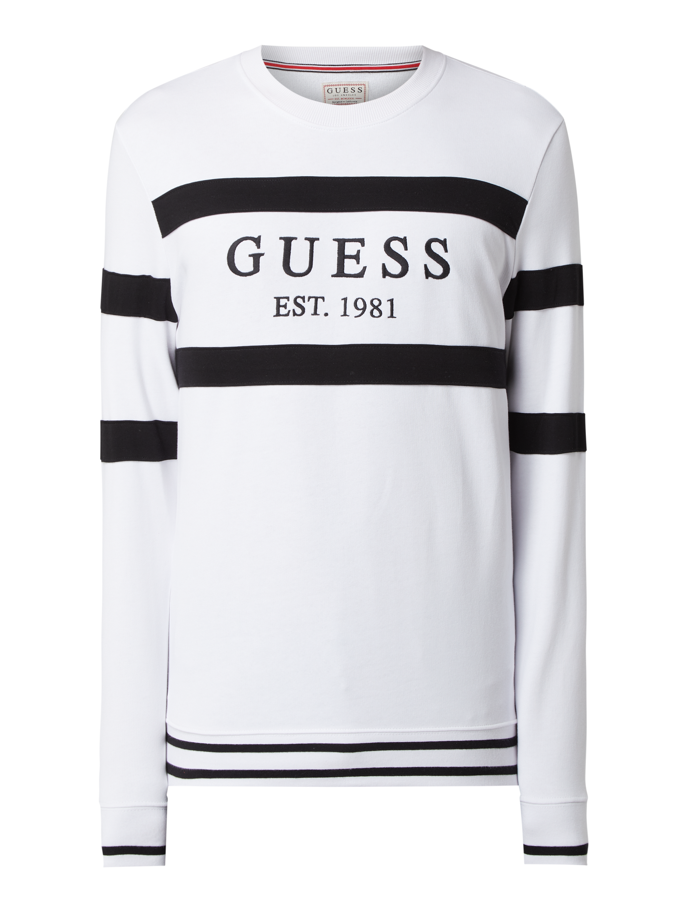GUESS Regular Fit Sweatshirt mit Logo Stickerei in Weiß