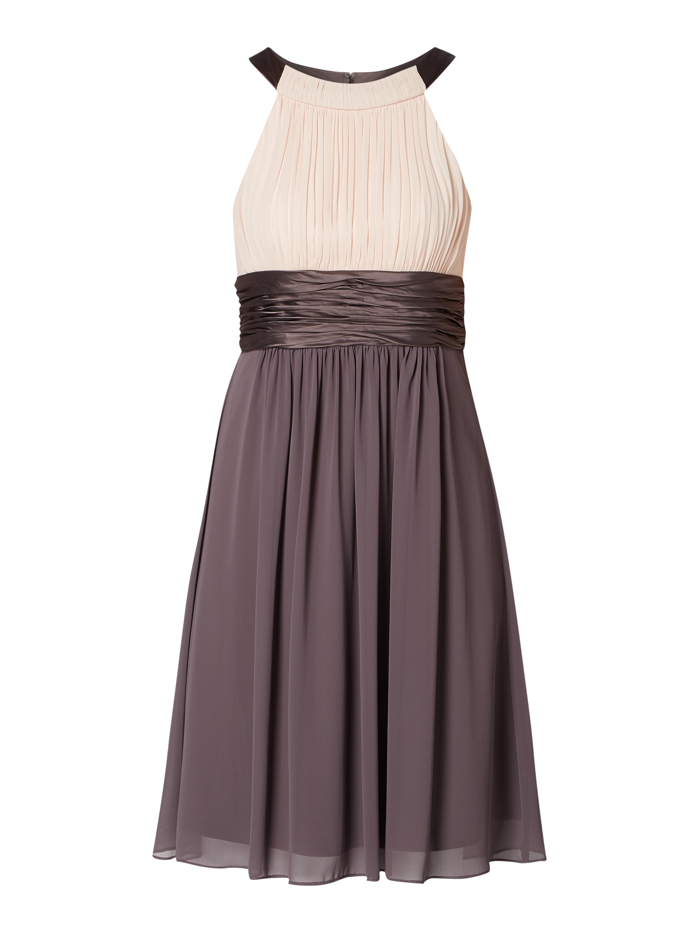 jake*s cocktail – two-tone-cocktailkleid aus chiffon – taupe